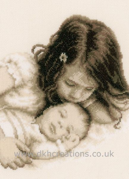 Baby and Sister Sepia Birth Sampler Cross Stitch Kit